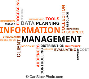 A word cloud of information management related items
