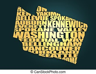 Word cloud map of Washington state. Cities list collage....