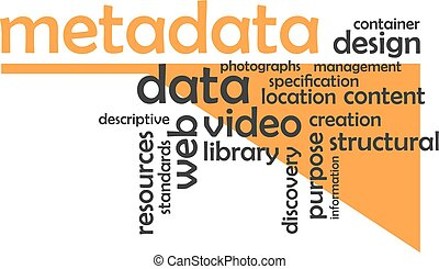A word cloud of metadata related items