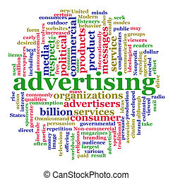 Illustration of advertising concept. Advertisement Worldcloud in circular shape