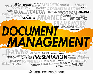 Word cloud of Document Management related items, business concept