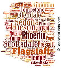 Word Cloud showing cities in Arizona - Word Cloud in the...