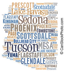Word Cloud showing various cities in the state of Arizona