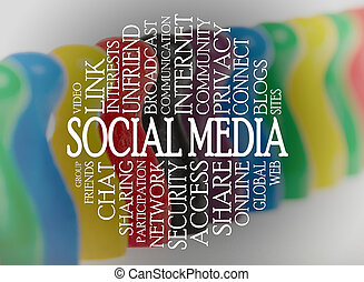 Word cloud social media with a social media background