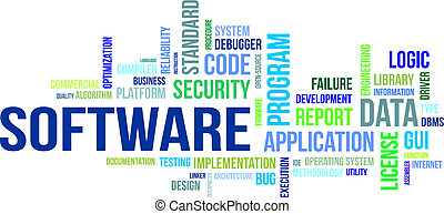 word cloud - software - A word cloud of software related...