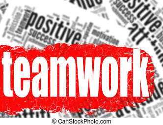 Word cloud teamwork business sucess concept