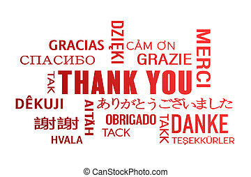 word cloud  - thank you - red