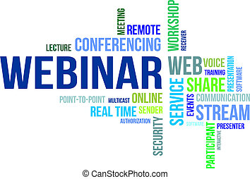 A word cloud of webinar related items
