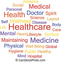 Word Cloud with Healthcare related tags, vector.