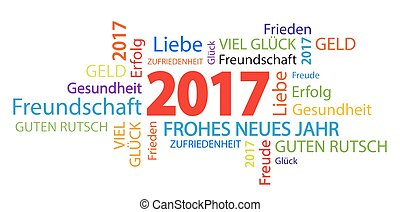 word cloud with new year 2017 greetings and white background...