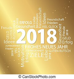 word cloud with new year 2018 greetings