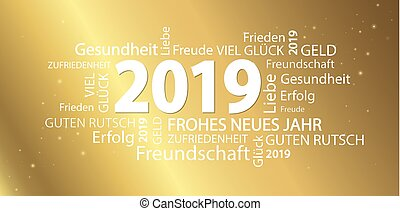 word cloud with new year 2019 greetings and golden...