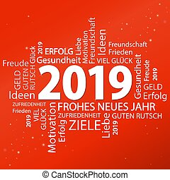 word cloud with new year 2019 greetings and red background