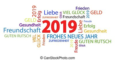 word cloud with new year 2019 greetings and white background