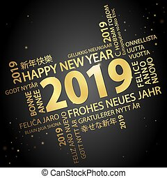 word cloud with new year 2019 greetings colored gold and...
