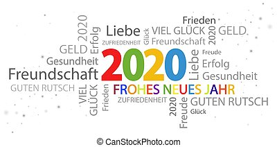 word cloud with new year 2020 greetings and white background