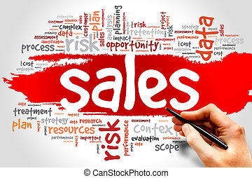 Sales - Word Cloud with Sales related tags, business concept