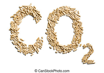 word co2 made of wood pellets on white background