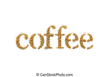 Word coffee with golden glitter isolated on white background