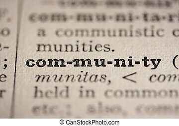 Word community from the old dictionary, a close up.
