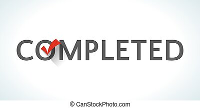 Word completed isolated on white background with red tick