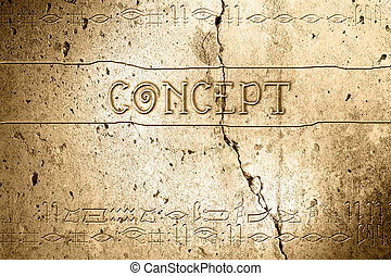 concept - word concept on wall with egyptian alphabet made...