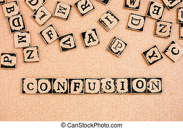 Word Confusion spelled out from cardboard letters made by black alphabet stamps