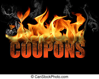 Word Coupons in Flame Text - Word Coupons in flame text with...