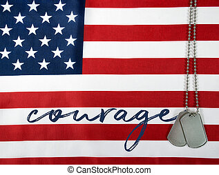 word courage on flag with dog tags