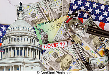 Word COVID-19 on global pandemic lockdown stimulus package ...