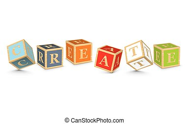 Word CREATE written with blocks - CREATE written with...