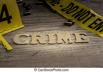 Word crime concept with wooden letters