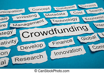 Word Crowdfunding On Piece Of Torn Paper - Word Crowdfunding...