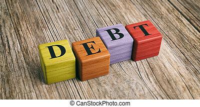 Word Debt on wooden blocks. 3d illustration