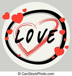 Word design for love with red hearts