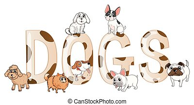 Word design with cute dogs