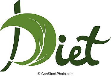 Word diet with leaf vector design template