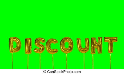 Word discount from helium golden balloon letters floating on...
