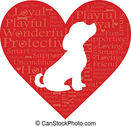 Word Dog Heart - A dog in a heart with words describing dogs...