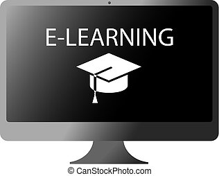 word e-learning on computer screen