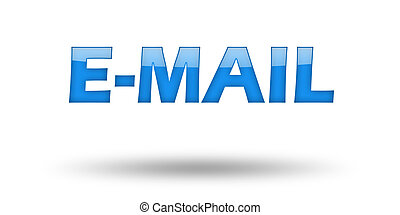 Word E-MAIL with blue letters and shadow.