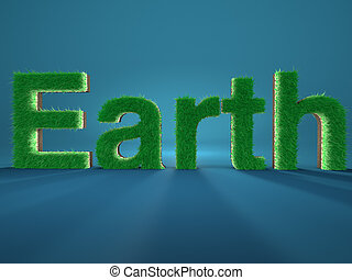 Earth spelled by letters made of fresh green grass on blue background. Concept of environment.