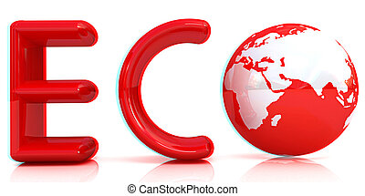 Word Eco with 3D globe. Anaglyph. View with red/cyan glasses to see in 3D. 3D illustration