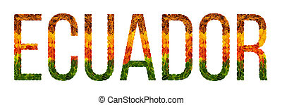 Word Ecuador Country Is Written With Leaves On A White Insulated Background Banner For