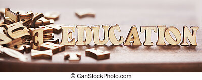 Word education made from wooden letters