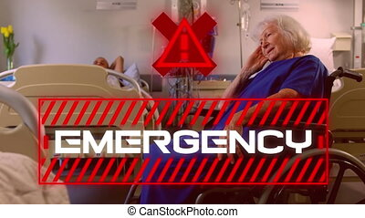 Word Emergency written in red frame over a senior female patient sitting. Covid-19 spreading