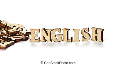 "word ""ENGLISH"" made with wooden letters"