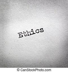 Word Ethics Typed on Vintage Typewriter