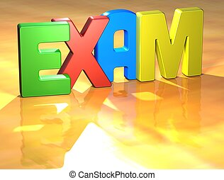 Word Exam on yellow background (higj resolution 3D image)