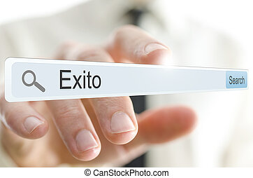 Word Exito written in search bar. Spanish for success.
